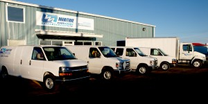 Our 4,800 square foot office/warehouse along with our mobile service fleet.